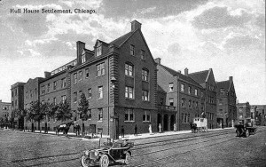 Early postcard featuring the Hull House settlement Hull House Settlement, Chicago. 1889. University of Illinois at Chicago, Chicago. Office of the UIC Historian. Web. 15 Oct. 2015.